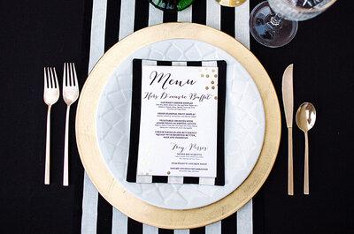 Real Weddings: La combinación perfecta en una bodega. Blanco, negro y dorado