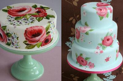 Pasteles pintados a mano: Una tendencia deliciosa y artesanal... ¡Seguro la querrás en tu boda!
