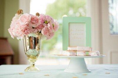 Décoration de mariage dans les tons menthe, rose et or, pour un effet romantique à souhait