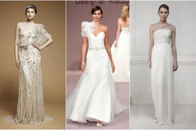 Vestidos de novia de un solo hombro: escotes de moda 2013