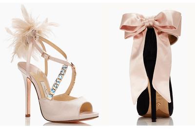 Novias con zapatos rosas de tacón de Kate Spade