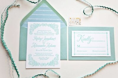 Ideias de convites de casamento na cor azul