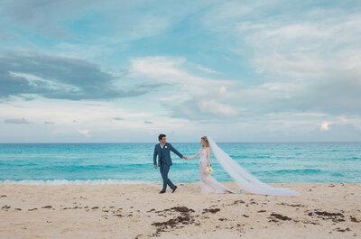 Destination wedding em Cancun de Leilane e Bruno: casamento pé na areia dos sonhos!