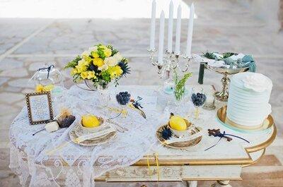 Decoratie voor je bruiloft in de kleuren blauw en geel
