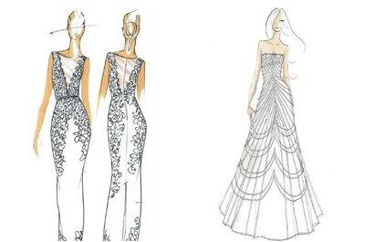 Ilustración de moda: Diseños de vestidos de novia con mucha clase