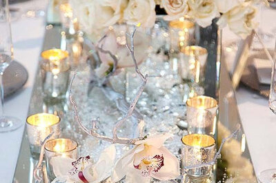 Decoración de boda en colores metálicos