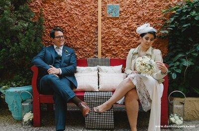 Cindy e Pedro: mini wedding vintage intimista em São Paulo