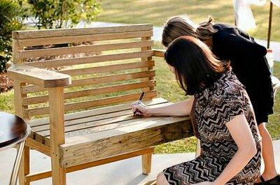 Pomysł tygodnia: ogrodowa ławka jako oryginalna księga gości