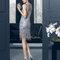 Vestido 8T300 Rosa Clara 2015 gris azulado con aplicaciones de pedrería.