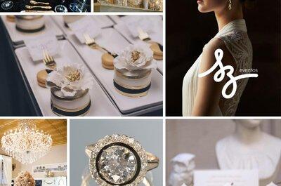 Negro y dorado: Un contraste lleno de glamour para la decoración de tu boda