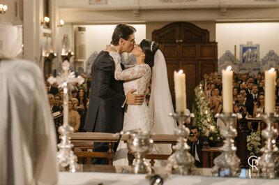 Cerimônia clássica na igreja e festa em tons de rosa e verde: casamento dos sonhos de Mariana & Fabio!