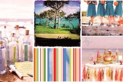 Collage de inspiración para una boda de playa al medio día