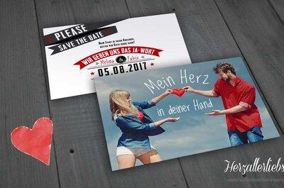 Kreative Hochzeitspapeterie: Hochzeitseinladungen.de lädt originell zur Traumhochzeit!