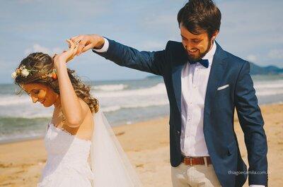 Casamento de Elisa & Guilherme: pés na areia e muito emoção em Santa Catarina