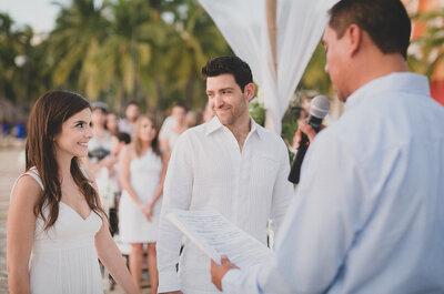 La ceremonia de Tania y Goru, una hermosa boda en la playa con exquisitos detalles
