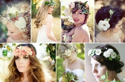 Corone di fiori per una pettinatura da sposa in stile bohemienne