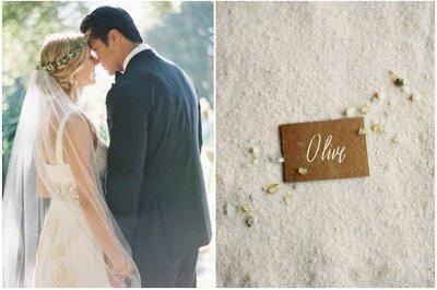 Detalles rústicos y naturales en una boda real