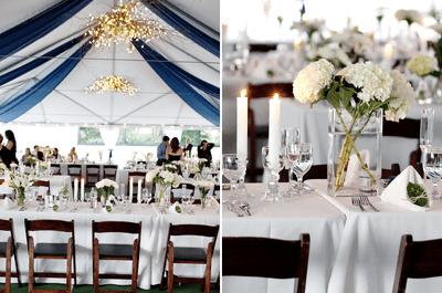 Náutico glam: decoración de boda en colores azul marino y dorado