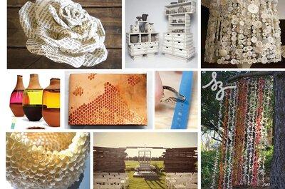 Collage de inspiración para crear una boda con materiales reciclados