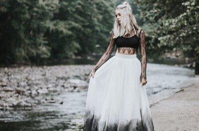 Op zoek naar een unieke trouwjurk? Probeer deze kleurrijke dip-dye jurken!