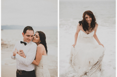 La armonía perfecta entre naturaleza y amor: Sesión Trash the Dress en una elegante playa
