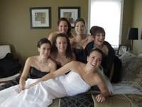 Funny Wedding Photo: Bridal Party Breaks Bed