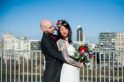 Une mariée rock et sexy pour un shooting urbain et décalé sur les toits de Nantes !