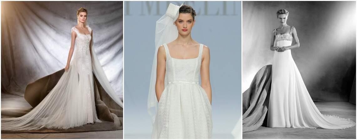 Lindos vestidos de noiva com decote quadrado 2017: um eterno clássico!