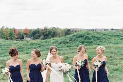 Vestidos color azul marino para tus damas de boda: El tono más chic del 2016