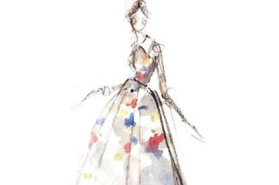 Illustrationen von Brautkleidern