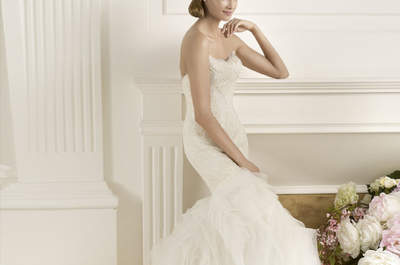 Selección de vestidos de novia con plumas 2013