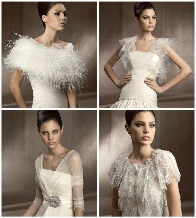 Cuatro de los nuevos modelos de chaquetas de novia de Pronovias. Foto: Pronovias