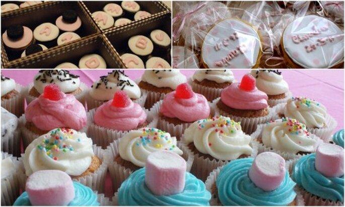 Cupcakes de golosina y galletas personalizadas como regalo de boda