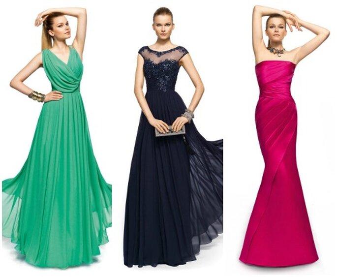 L'abito lungo è perfetto per la mamma. Nei colori più di tendenza questi modelli di Pronovias Fiesta 2013. Foto www.pronovias.it