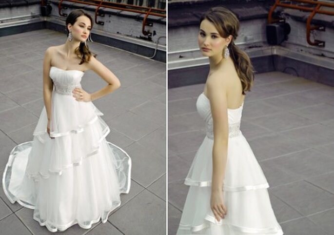 Vestido de novia de tres capas en la falda - Foto Henry Roth, Polkadot Bride