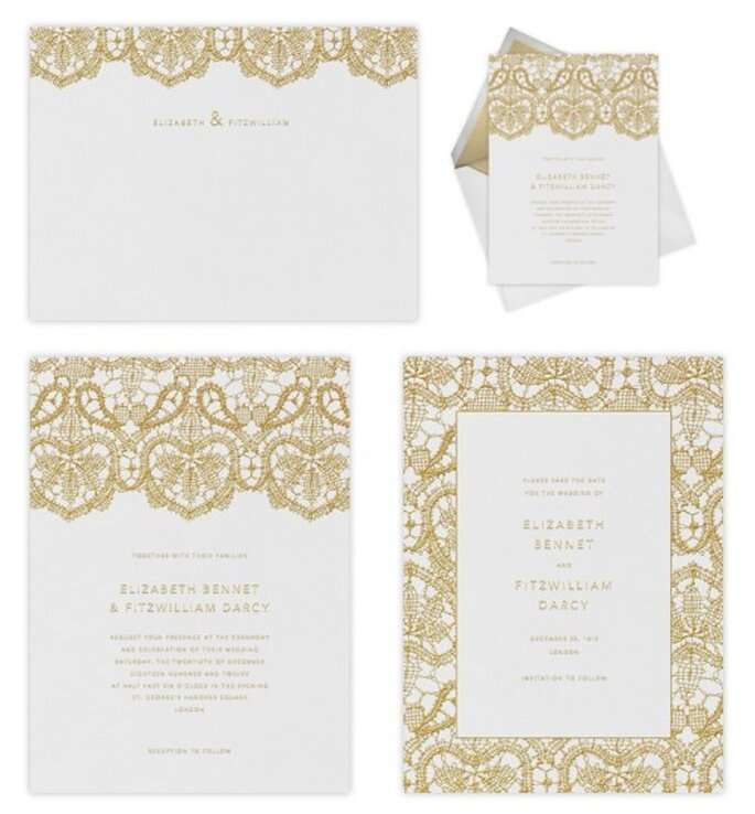 Elegantes invitaciones de boda con diseños de Oscar de la Renta - Foto Paperless Post