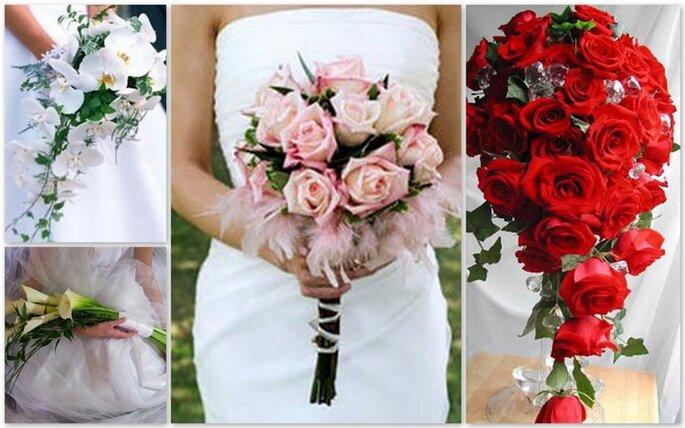 Bouquet con calle, con rose rosa lunghe o di forma discendente con brillanti rose rosse