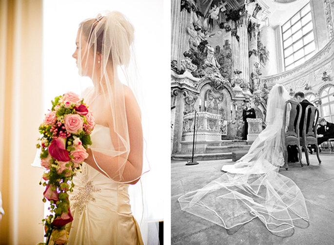 Susan entschied sich für einen fließenden Brautstrauß in Pink- und Rosétönen. - Foto: Torsten Hufsky