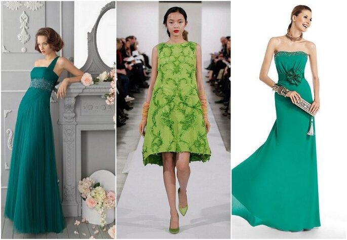 Vestidos de fiesta de color verde 2014