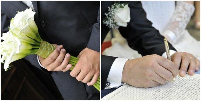 Due momenti in cui le mani sono in primo piano sono la consegna del bouquet alla sposa e il momento delle firme dopo il sì. Foto New Image Officina d'Immagine