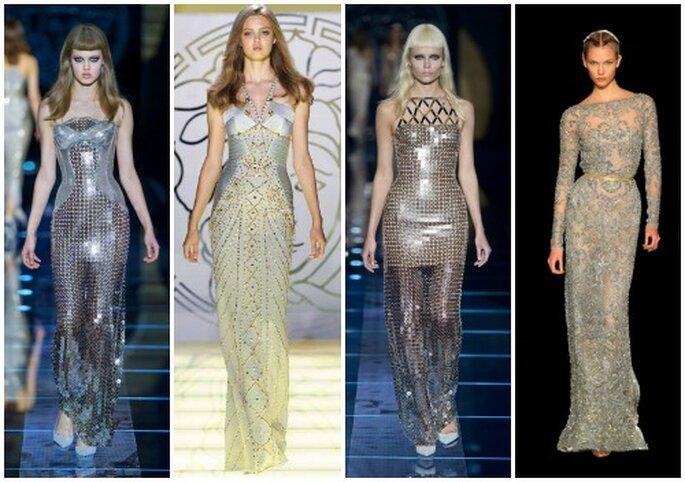 Cuatro propuestas de vestidos con efecto plata, para las novias que no se ven en las colecciones más tradicionales. Los tres primeros y el último son Atelier Versace, Elie Saab Alta Costura octubre / Inv. 2012-13.
