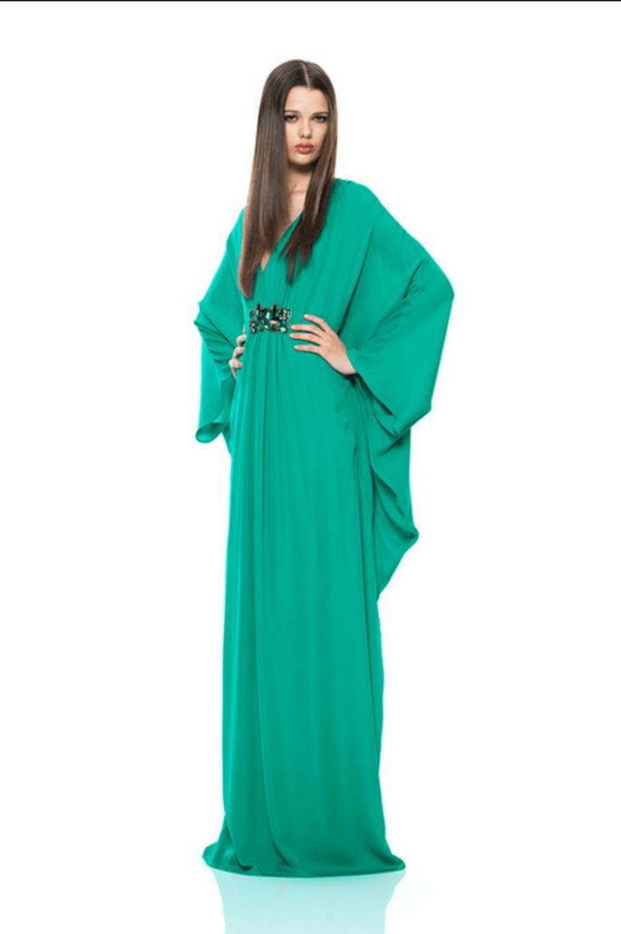 Vestido de fiesta 2014 estilo maxi en color turquesa - Foto Issa