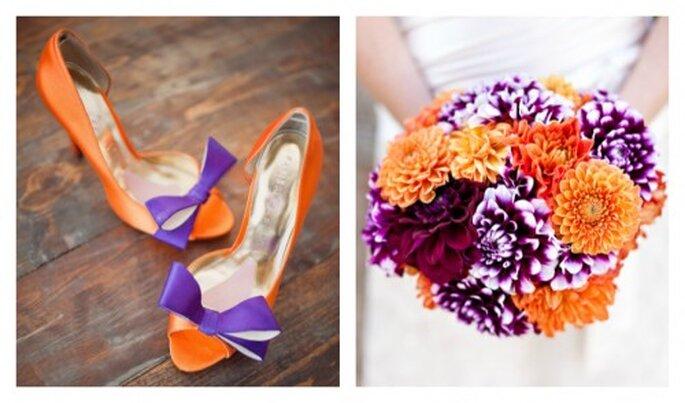 Pomarańczowe i fioletowe buty ślubne bukiet