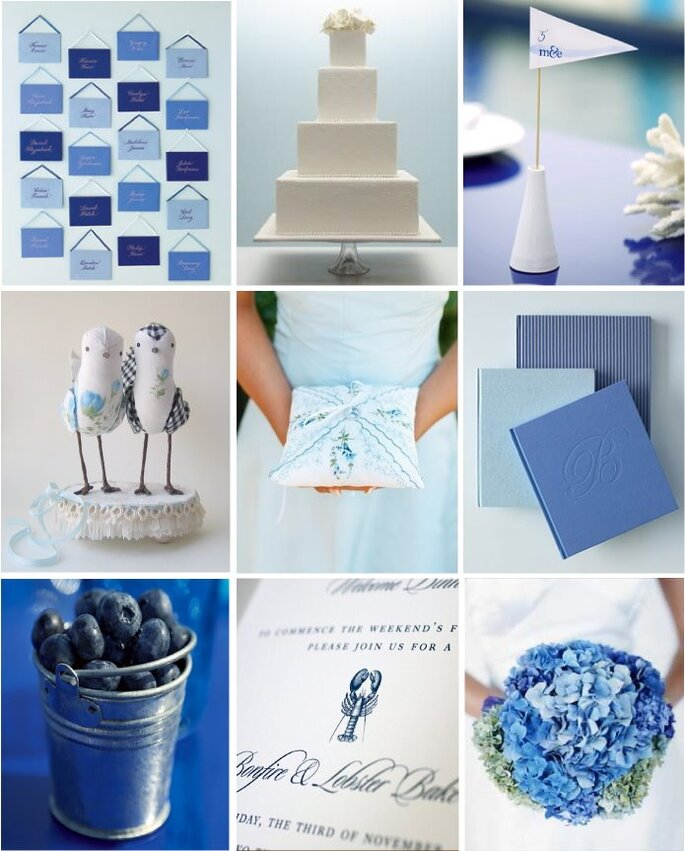 Invitaciones, el pastel o los detalles de boda pueden acentuar el tono elegido