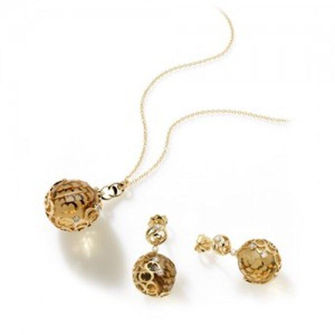 Girocollo in oro giallo con quarzo citrino e diamanti della linea Boule. Foto: www.chimento.it