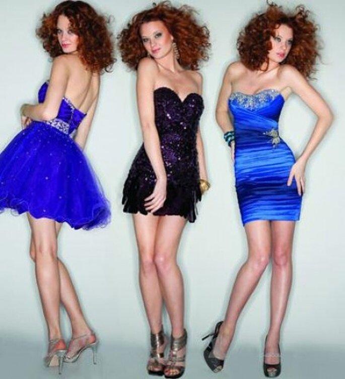 La primera opción: vestidos cortos. Foto de Mori Lee