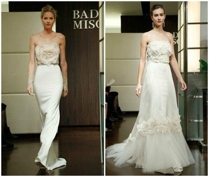 Dettagli applicati sul corpetto rendono l'abito unico. Badgley Mischka Fall 2013 Bridal Collection. Foto: www.badgleymischka.com