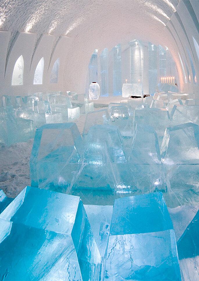 'Ice church' del ICEHOTEL en Suecia. Foto: ICEHOTEL