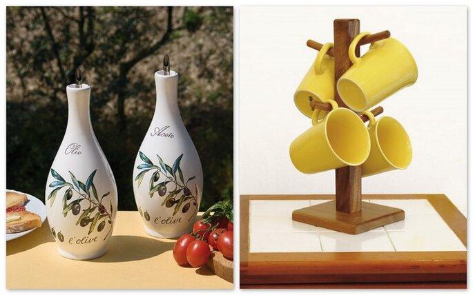 Set aceto e olio in ceramica e portatazze in legno