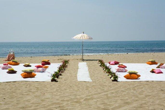 ambientacion de boda en la playa